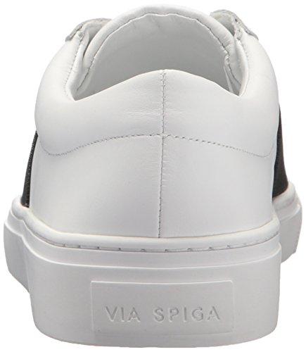 Via Spiga Dames Saran Slip Sneaker Porselein / Zwart Leer