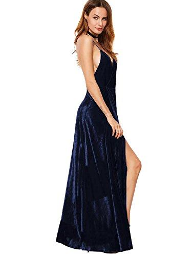 Crois Divis avec SOLY lgant Au Bleu Robe de Mariage Plongeant Col Haut Robe Bretelle Longue Femme Robe Dos Marine Party HUX WqqwrtApX