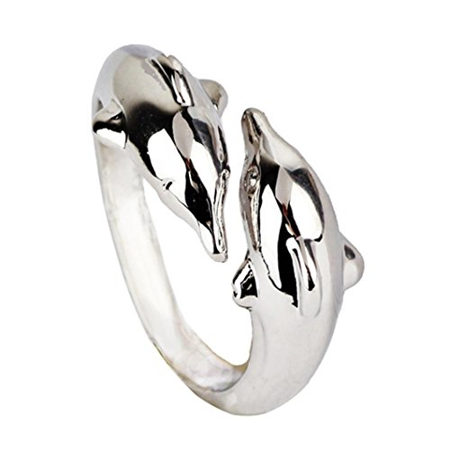 Price comparison product image AIMTOPPY Women Popular Alloy Rings Happy Double Dolphin Lovers Ring (Silver,  free)