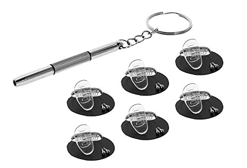 Eyekepper 6 Pairs 15mm D-shaped Screw-in Soft Silicone Glasses Nose Pads /Bonus 1pc Mini 3 in 1 Stainless Steel - Z Repair Eyeglass To A