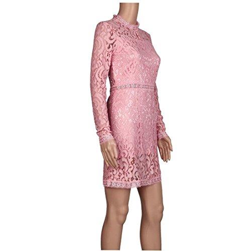 WOCACHI Reizvolle Vintage Frauen Abend Partei Mini Kleid Rosa ...