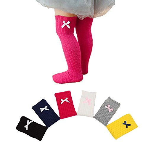 Udobuy6 Pairs Bows Newborn Toddler Knee High Socks Baby Girls Bow Sock Leg Warmer Cotton Over Calf Knee High Socks for Kids Toddler Baby Girl (S (0-3 years old (Bow Knee Sock)