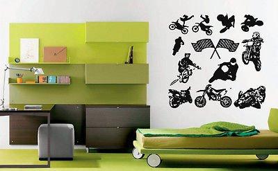 V-studios Wall Decal Sticker Bedroom Dirt Sport Bikes Race Flags Speed Boys Nursery bo2809