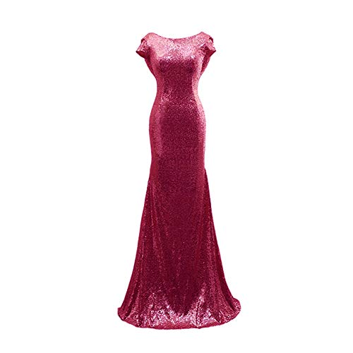 Aiyana Mermaid V-Neck Backless Long Bridesmaid Dresses Sequins Wedding Party Gown