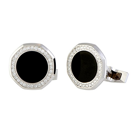 Audemars Piguet Royal Oak 18K White Gold Diamond and Onyx Octagonal Cufflinks - 18k Diamond Cufflinks