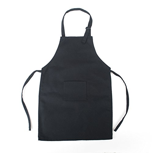 Opromo Colorful Cotton Canvas Kids Aprons with Pocket, Artist Apron & Chef Apron(S-XXL)-Black-XXL