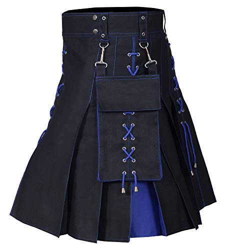 Utility Kilt Black and Blue Hybrid Kilt New For Men