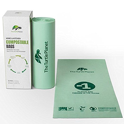 The Turtle Planet Organic Compostable Bags 3 Gallon 100 Count Extra Thick Small Kitchen Biodegradable Trash Bags Food Scraps Yard Waste Bags ASTM6400   US   BPI   European VINCOTTE 100% (Compostable Plastic Grocery Bags)