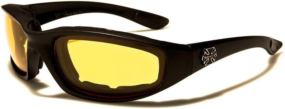 Chopper - Gafas de motociclista de sol para moto o moto, diseño de cruz, conducción nocturna, para hombre y mujer, cristales amarillos