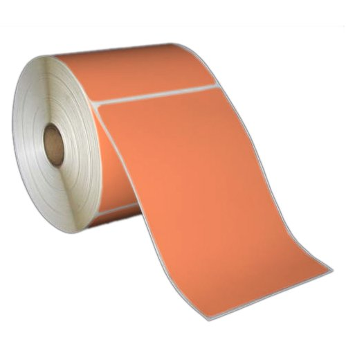 """4x6 Inch Direct Thermal Paper Labels - Orange - Rolls - 5"""" OD - 1"""" Core - 430 Labels Per Roll - 6 Rolls Per Box - 1 Box - For Zebra and Other Thermal Barcode Label Printers (L-SDF-40601P51O)"""