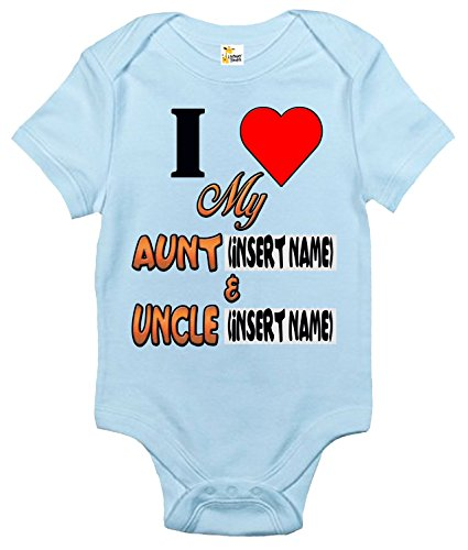 Baby Bodysuit - Custom Personalized I Love My Aunt and Uncle With Your Names (Light Blue, 3-6 Months) ()