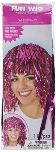 amscan Fun Tinsel Wig Funny Costume Headwear Orange Foil