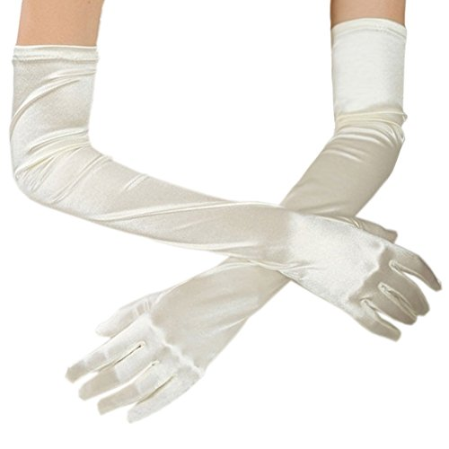 Deceny CB Long Gloves for Women Satin Wedding Gloves Formal Party Gloves (Ivory)