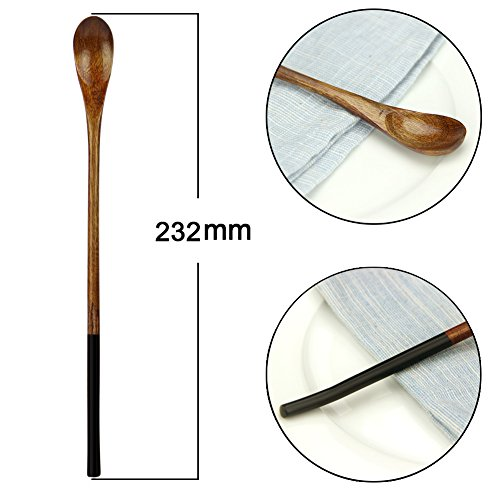 Wooden Iced Tea Spoons, AOOSY 9.13 inches 10 Pieces 100% Natural Wood Long Handle Drink Spoons Cocktail Stirrer Swizzle Sticks by AOOSY (Image #5)