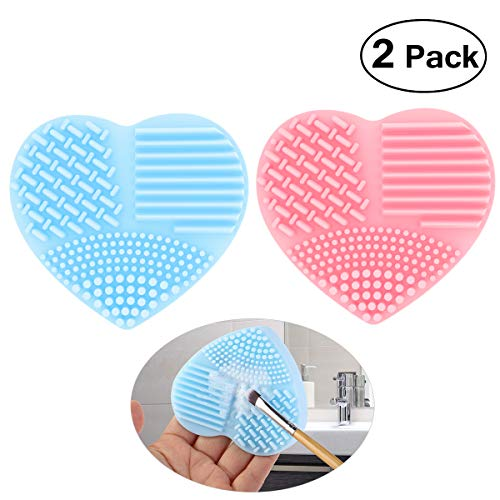 (PIXNOR Makeup Brush Cleaner Silicone Cosmetic Cleaning Scrubber Tool Finger Glove Cleaning Pad, Pack of 2 (Pink and Blue))