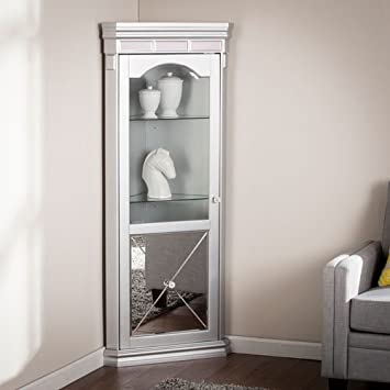 Lovely Mirrored Lighted Corner Curio Cabinet