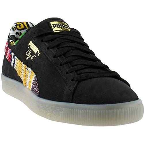 (PUMA Clyde Coogi FS Mens Black Leather Lace Up Lace Up Sneakers Shoes 11.5)