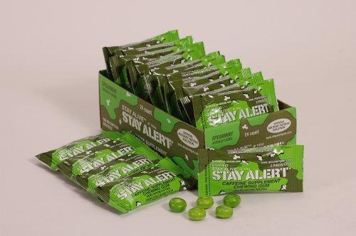 RESTER VIGILANT militaire Gum Energy caféine - MENTHE - PLATEAU (24 paquets, 5 pcs / paquet) 100mg Caféine / pièce