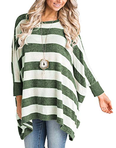Asymetrical Tunic (MIROL Women's Casual Long Sleeve Striped Poncho Style Asymmetrical Hem Loose Fit Tunic Tops (Large/X-Large, Green))