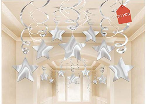 AimtoHome Party Swirl Decorations, Hanging Swirl Ceiling Decorations, Silver Star, Pack of 30