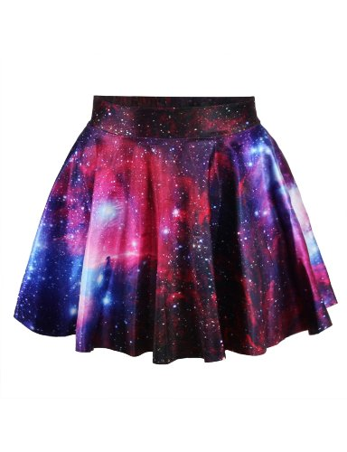 Womens Purple Galaxy Digital Print Stretchy Flared Pleated Casual Mini Skirt,One Size,Purple Galaxy -