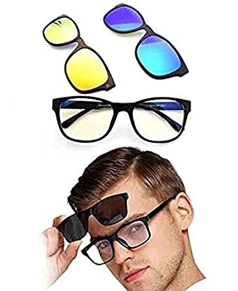 d31c452d991 sagrach 3pcs Clip-on Sunglasses Polarized Magnetic lens Plastic Frame for  Night Driving Quick changing - 1pc  Amazon.in  Industrial   Scientific