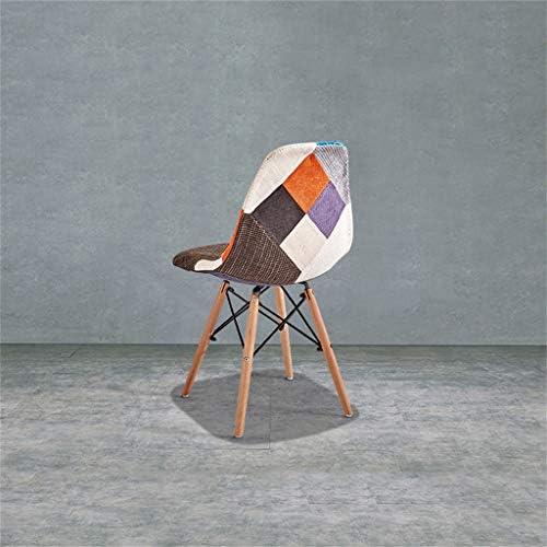 Chaises en Tissu, Pieds de Chaise en hêtre, Surface de Chaise en Tissu d'épissage créatif, pour cafés, Restaurants, Maisons, Bars