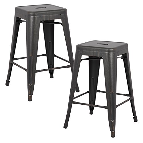AC Pacific Modern Backless Light Weight Industrial Metal Barstool 4 Leg Design, 24