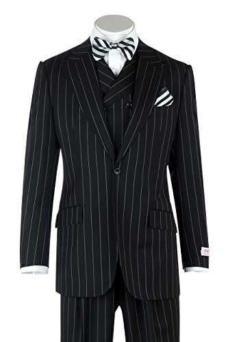 San Giovesse Black Pin-Stripe Wide Leg, Pure Wool Suit & Vest by Tiglio Rosso TIG1052