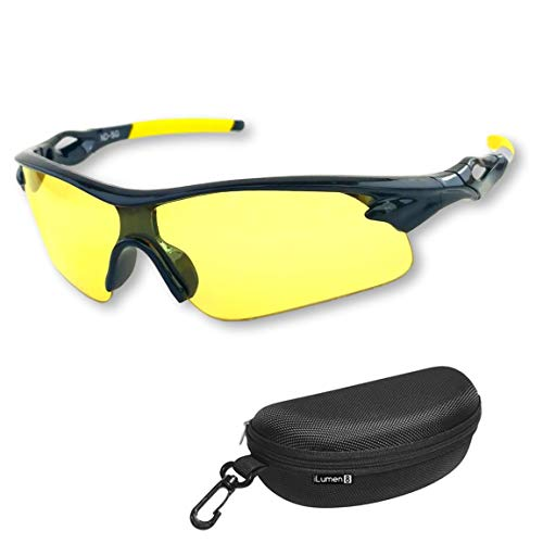 BEST Night Driving Glasses- Anti Glare Night Vision Reduce Eye Strain Golf Biking Riding Motorcycle (Night Sunglasses For Men)
