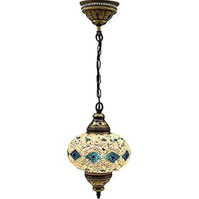 Turkish Moroccan Mosaic Glass Handmade Ceiling Pendant Fixture Hanging Lamp Light,7""