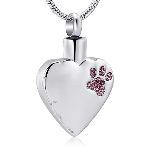 memorial jewelry No Longer by My Side,But Forever in My Heart Carved Locket Cremation Urn Necklace for Pet Dog Cats (Blank-Pink)