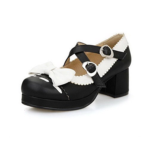 Allhqfashion Womens Assorti Kleur Pu Kitten Hakken Vierkante Dichte Teen Gesp Pumps-schoenen Zwart