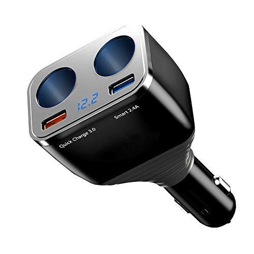 ONEVER 1 to 2 Sockets Cigarette Lighter Splitter, Dual USB Car Charger Adapter with Power On/Off Switch and Quick Charge 3.0 Port Smart 2.4A Compatible for iPhone 8 7 iPad Android Samsung Dash Cam