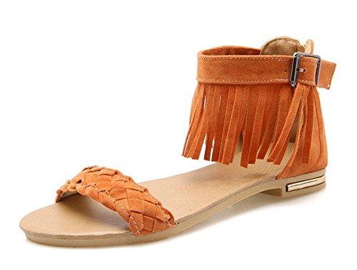 Aisun Women's Fashion Fringed Tassels Woven Back Zipper Buckle Open Toe Ankle Wrap Covered Heels Dress Flat Sandals Shoes Orange 8.5 B(M) US