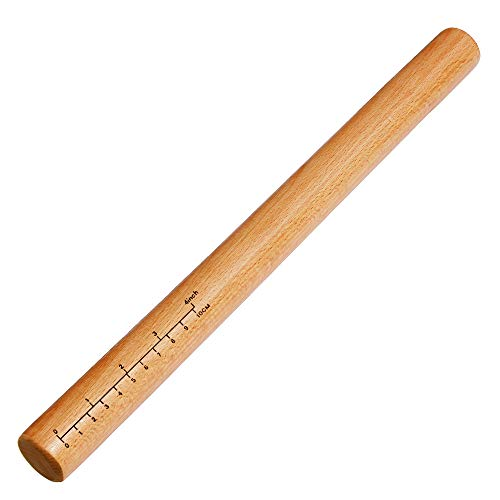 (Rolling Pin - Dough Roller Wood Rolling Pin for Baking, 15 Inch by 1-3/8 Inch, Professional Rolling Pins for Baking Pizza, Clay, Pasta, Cookies, Dumpling, Eco-friendly and Safe)