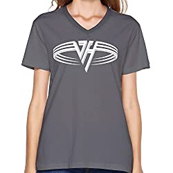 LaviV Women's Van Halen 1978 Logo You Really Got Me V-neck Tshirt DeepHeather