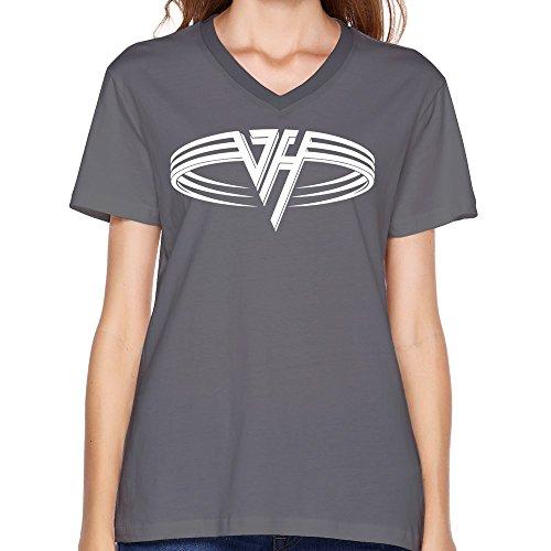 LaviV Women's Van Halen 1978 Logo You Really Got Me V-neck Tshirt (Van Halen Womens Top)