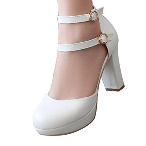 Heeled Platform White toe High Buckle Shoes Strap Womens Round Pump AIWEIYi 0w6UPP