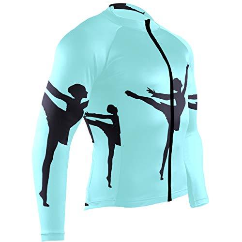 Cindly Ballet Moves Travel Men's Cycling Jersey Long Sleeve Bike Jacket Biking Bicycle Jersey Shirt