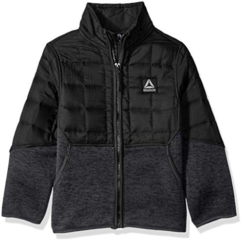 Reebok Boys' Toddler Active Soft Sweater Fleece Jacket, Black/Charcoal Heather, 3T