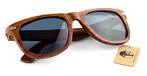 Real Solid Handmade Wooden Sunglasses for Men, Polarized Lenses with Gift Box 3 QUALITY YOU CAN DEPEND ON. Each and every pair of our sunglasses are unique, hand-selected and packaged in the USA. We care about our customers. Not satisfied? Let us know. We'll do our best to make it right. YOUR EYES ARE IMPORTANT! Premium UV400 polarized sunglasses that reduce the glare reflected off roads, water, snow, and other surfaces. Designed to provide long lasting protection for your eyes. PERFECT GIFT FOR YOURSELF OR THAT SPECIAL SOMEONE. Whether it's a birthday, anniversary, Valentine's Day, Father's Day, Graduation, or Christmas, our sunglasses make a fantastic gift. Another bonus? We've included a great looking gift box and microfiber cleaning cloth.