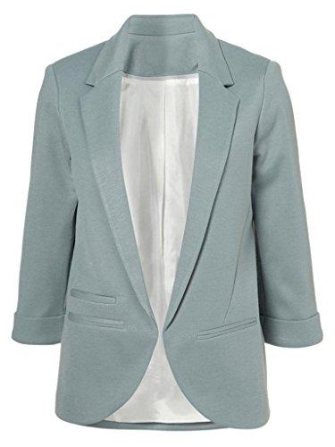 Persun Women's Boyfriend Ponte 3/4 Cuffed Sleeve Blazer Light Blue