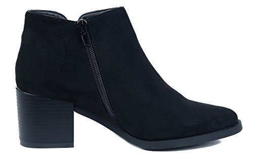 AgeeMi Shoes Women's Pointed Toe Block Kitten Heels Ankle Boots and Zipper Black plVgHwtPqG