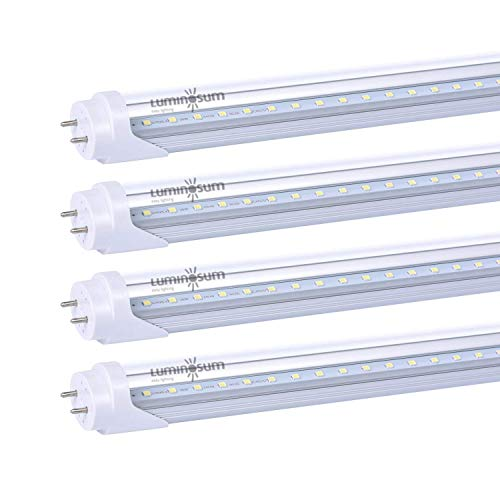 LUMINOSUM T8 T10 T12 LED Tube Lights 4ft 48'' 20W (40W Equivalent) 4000K, G13 Dual-Ended Powered Clear Cover, ETL Listed Fluorescent Light Replacement, 4-Pack