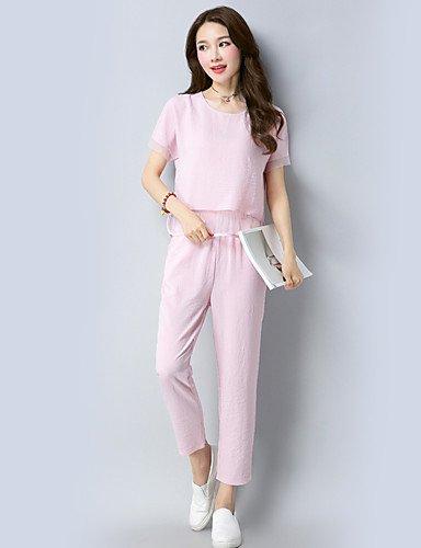 Xuanku Manga Estilo Estampado Corta Blushing Chic Con Mujer Verano Pink De Casual Camiseta Y Para rrqBwAFR
