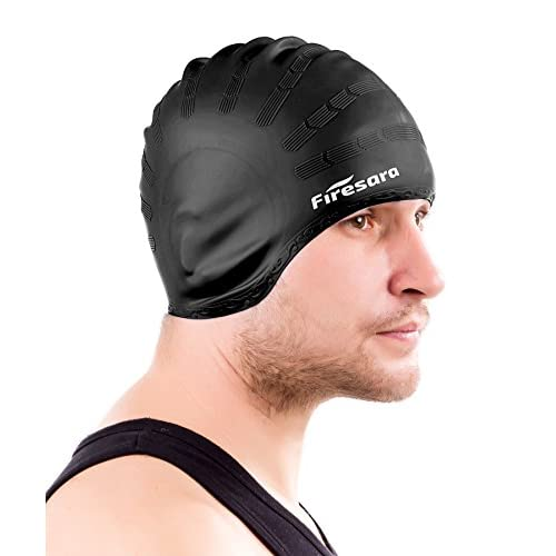 Firesara Swimming Cap for Long Hair, Silicone Swim Cap for Dreadlocks or Short Hair for Adult Men Women Girls Kids Child Keeps Hair Clean Ear Dry with Nose Clip and Ear Plugs