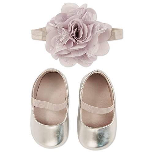 ABG Accessories Baby Girls' Boxed Shoe and Headband Set, Silver, 6-12M from ABG Accessories