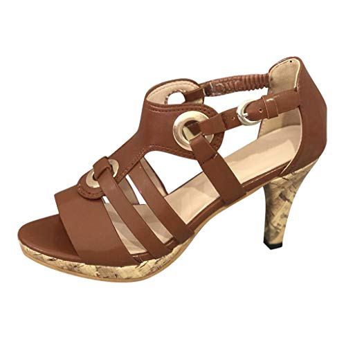 - Sunhusing Women's Solid Color Metal Buckle Elastic Band Buckle High Heels Open Toe Sandals Roman Shoes Brown