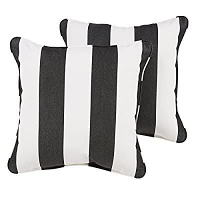 Mozaic Company AZPS6256 Indoor Outdoor Sunbrella Square Pillow with Corded Edges, Set of 2, 20 x 20, Black & White Stripes - Color: Sunbrella Black/ White Stripe Materials: Acrylic fabric, filled with 100% recycled polyester fiber Weather, mildew, fade and stain resistant with UV protection - patio, outdoor-throw-pillows, outdoor-decor - 41%2Ben iKL0L. SS400  -
